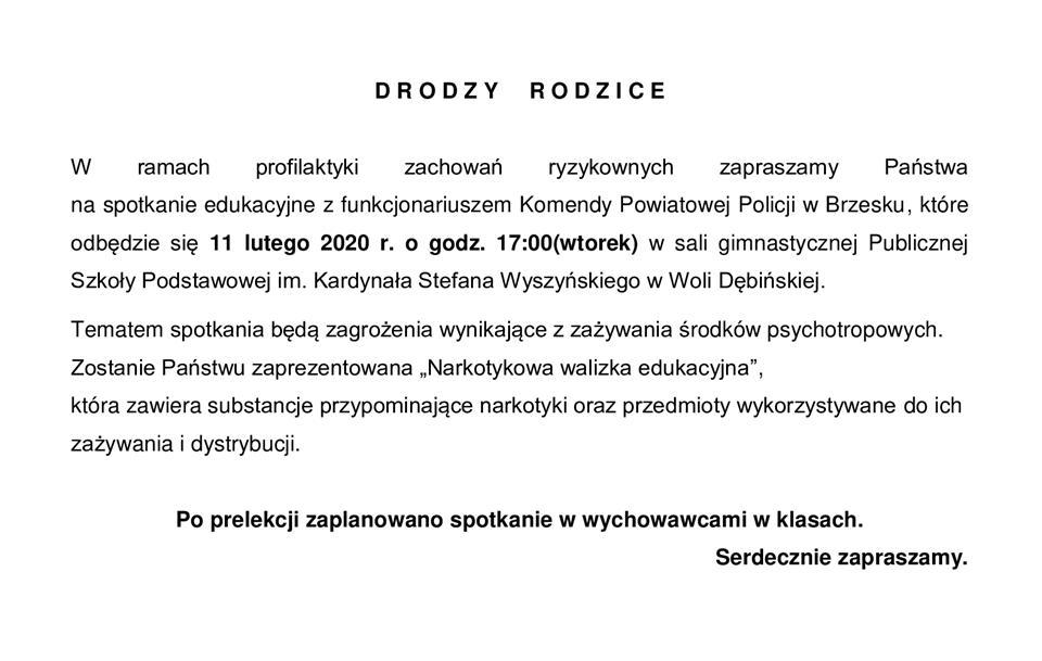 Zaproszenie narkotyki 2020